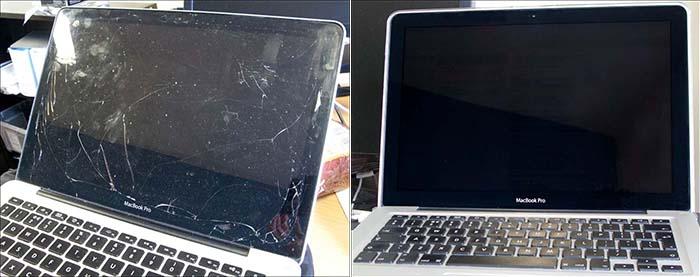 Macbook pro cracked screen | MacBook Pro screen cracked   2019-03-03